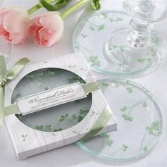 Floral Design Round Glass Coaster