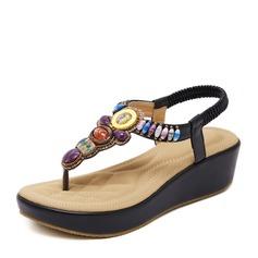 Naisten Mokkanahka Wedge heel Kiilat jossa Tekojalokivi kengät
