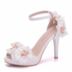 Women's Leatherette Stiletto Heel Peep Toe Platform Pumps With Flower