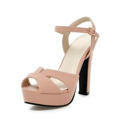 Leatherette Chunky Heel Sandals Peep Toe shoes (087063376)