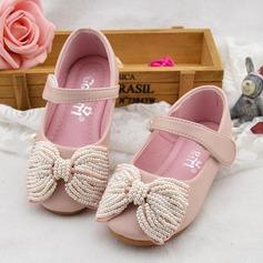 Flicka rund tå Mary Jane Microfiber läder platt Heel Platta Skor / Fritidsskor Flower Girl Shoes med Bowknot Oäkta Pearl Kardborre