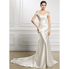 Trumpet/Mermaid Off-the-Shoulder Court Train Satin Wedding Dress With Ruffle Lace Beading Sequins