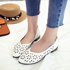 Women's Leatherette Low Heel Flats Closed Toe With Hollow-out shoes