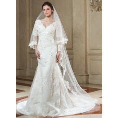 One-tier Cathedral Bridal Veils With Lace Applique Edge (006040679)