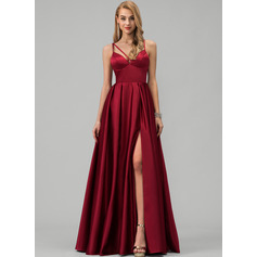 A-Line V-neck Floor-Length Satin Evening Dress With Split Front Pockets (017229893)