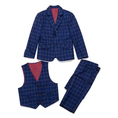 gutter 3 stykker Plaid Suits til ringbærere /Side Boy Suits med Jakke vest Bukser (287199775)