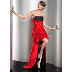 A-Line/Princess Sweetheart Asymmetrical Taffeta Prom Dress With Ruffle Beading