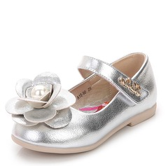 Girl's Round Toe Closed Toe Real Leather Flat Heel Flower Girl Shoes With Velcro Flower