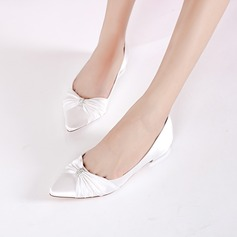 Women's Silk Like Satin Low Heel Closed Toe Flats With Buckle Ruffles (047133569)