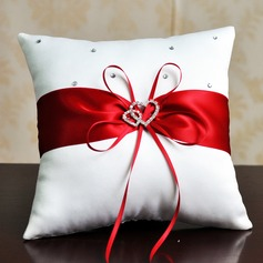 Elegant Ring Pillow in Satin With Ribbons/Rhinestones
