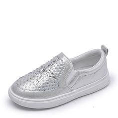 Muchacha Punta Cerrada Kunstleder Talón plano Sandalias Planos Zapatos de niña de las flores con Rhinestone