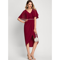 Sheath/Column V-neck Asymmetrical Chiffon Cocktail Dress With Beading (016212846)