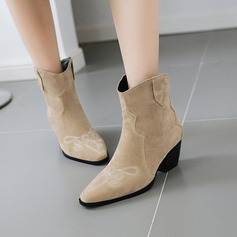 Women's Suede Cone Heel Pumps Boots Mid-Calf Boots With Satin Flower shoes