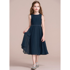 A-Line/Princess Scoop Neck Tea-Length Chiffon Junior Bridesmaid Dress With Ruffle (009097066)