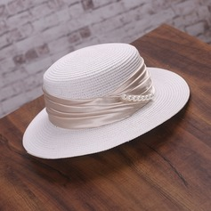 Ladies' Elegant Papyrus With Imitation Pearls Straw Hat