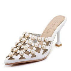Kvinner PU Stiletto Hæl Sandaler Pumps med Imitert Perle sko