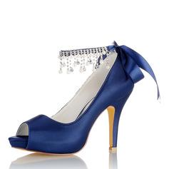 Women's Silk Like Satin Stiletto Heel Peep Toe Pumps Sandals With Tassel