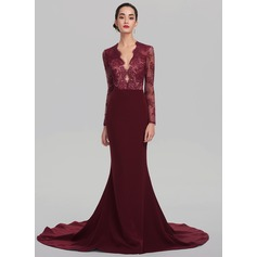 Trumpet/Mermaid V-neck Court Train Satin Evening Dress (017137372)