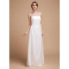 Empire Scoop Neck Floor-Length Tulle Wedding Dress With Ruffle