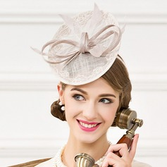 Ladies' Elegant Linen With Feather Fascinators
