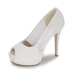 Women's Lace Stiletto Heel Peep Toe Pumps