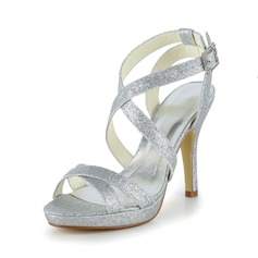 Women's Sparkling Glitter Stiletto Heel Peep Toe Sandals (047039416)