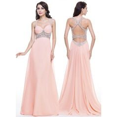 Trumpet/Mermaid Sweetheart Watteau Train Chiffon Prom Dress With Ruffle Beading Sequins (018112744)