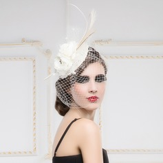 Dames Simple Batiste/Feather/Fil net Chapeaux de type fascinator
