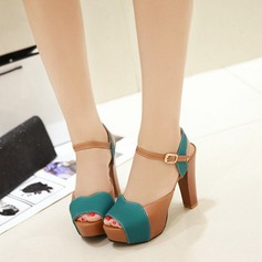 Women's Leatherette Chunky Heel Sandals Pumps Peep Toe Slingbacks With Buckle shoes (087111974)