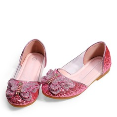 Girl's Round Toe Closed Toe Leatherette Sparkling Glitter Flats With Bowknot