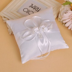 Grace Ring Pillow in Cloth With Bow/Faux Pearl