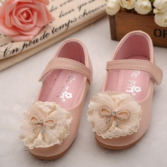 Round Toe Lukket Tå Leather flat Heel Flate sko Flower Girl Shoes med Bowknot Blomst