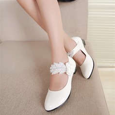 Girl's Leatherette Flat Heel Closed Toe Flats With Flower Applique
