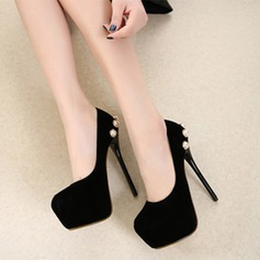 Women's Suede Stiletto Heel Pumps Platform With Imitation Pearl shoes