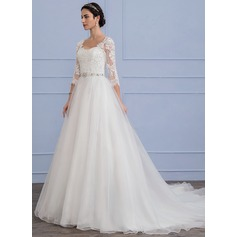 A-Line/Princess Chapel Train Organza Lace Wedding Dress With Beading Sequins
