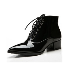 Women's Patent Leather Low Heel Pumps Ankle Boots shoes (088057404)