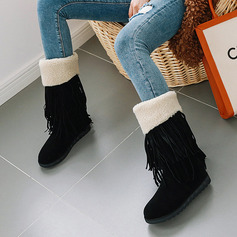 Women's Suede Flat Heel Platform Boots Mid-Calf Boots With Tassel shoes