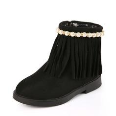 Flicka rund tå Boots Mocka platt Heel Platta Skor / Fritidsskor Stövlar med Oäkta Pearl Tofs Zipper