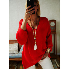 V-Neck Casual Solid Sweaters (1002251478)