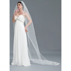 One-tier Lace Applique Edge Cathedral Bridal Veils With Applique (006115038)