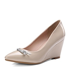 Frauen PU Keil Absatz Absatzschuhe Geschlossene Zehe Keile mit Strass Schuhe