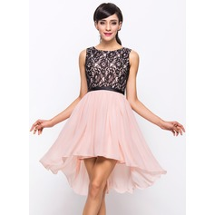 A-Line/Princess Scoop Neck Asymmetrical Chiffon Lace Cocktail Dress (016055915)