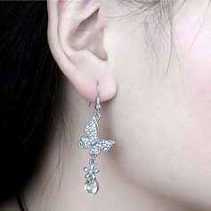 Butterfly Shaped Alloy Crystal With Imitation Crystal Women's Fashion Earrings (Sold in a single piece)