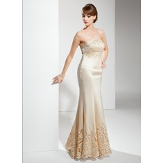 Trumpet/Mermaid Strapless Floor-Length Satin Mother of the Bride Dress With Lace