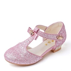 Girl's Closed Toe Microfiber Leather Low Heel Flower Girl Shoes With Rhinestone Sequin Sparkling Glitter Velcro