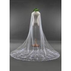 One-tier Lace Applique Edge Cathedral Bridal Veils With Lace (006114034)