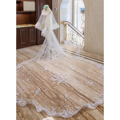 Two-tier Lace Applique Edge Cathedral Bridal Veils With Lace (006163761)