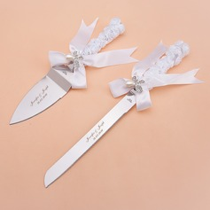 Personalized Butterfly Design Stainless Steel Serving Sets With Pearl