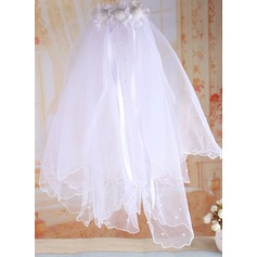 Tulle/Satin With Imitation Pearls Flower Girl/Communion Veils