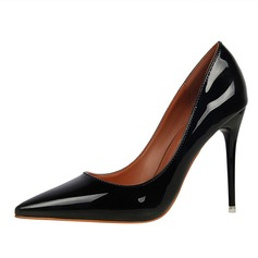 Women's Patent Leather Stiletto Heel Pumps Closed Toe shoes (085114812)